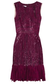 Oscar de la Renta Silk Chiffon Appliquéd And Sequined Silk Tulle Dress - Lyst