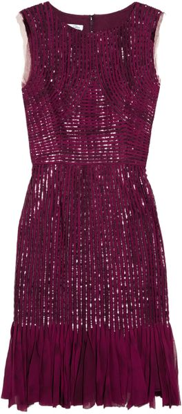 Oscar De La Renta Silk Chiffon Appliquéd And Sequined Silk Tulle Dress in Purple (cranberry) - Lyst