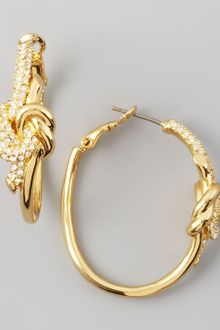 Rachel Zoe Pave Love Knot Hoop Earrings - Lyst