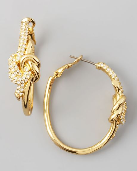 Rachel Zoe Pave Love Knot Hoop Earrings in Gold - Lyst