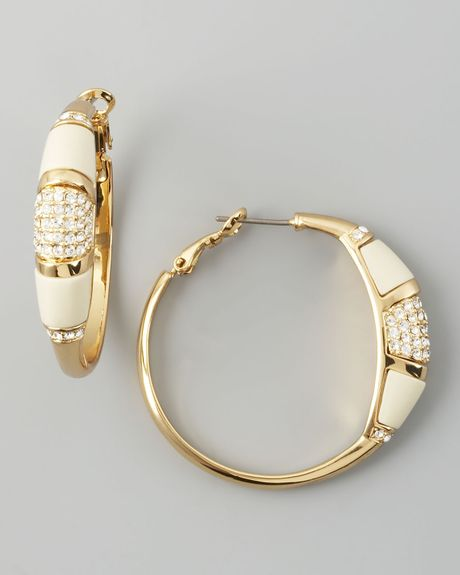 Rachel Zoe Paveresin Hoop Earrings  in White (ivory) - Lyst