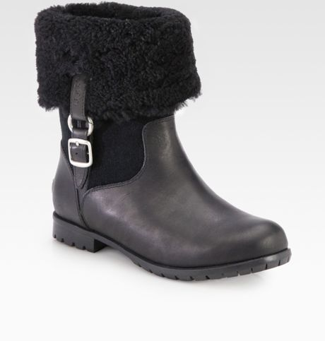 ugg bellvue shearlinglined leather suede boots in black lyst