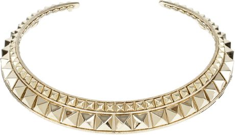 Valentino Golden Brass Metal Choker with Stud Embellishment in Gold (black) - Lyst