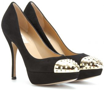 Valentino Suede Pumps with Studded Capped Toe - Lyst