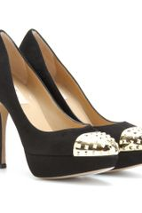 Valentino Suede Pumps with Studded Capped Toe in Black - Lyst