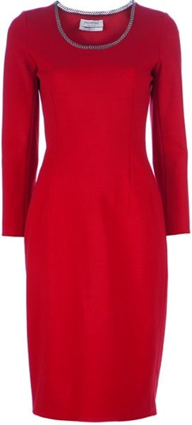 Yves Saint Laurent Fitted Pencil Dress in Red - Lyst