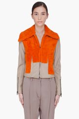 3.1 Phillip Lim Orange Shearling Trompe Loeil Jacket in Orange - Lyst