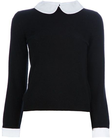 Alice + Olivia Peter Pan Collar Sweater in Black - Lyst