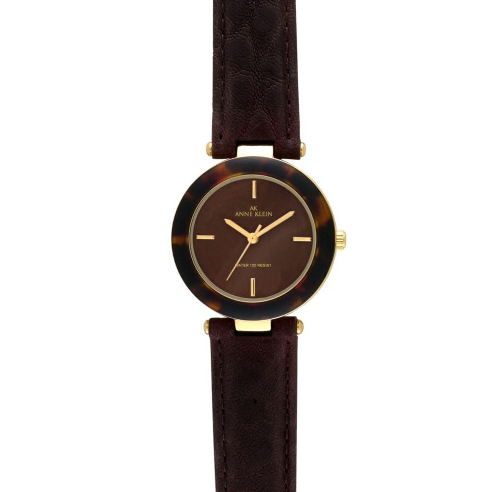 Anne klein brown leather strap watch in brown lyst for Anne klein leather strap