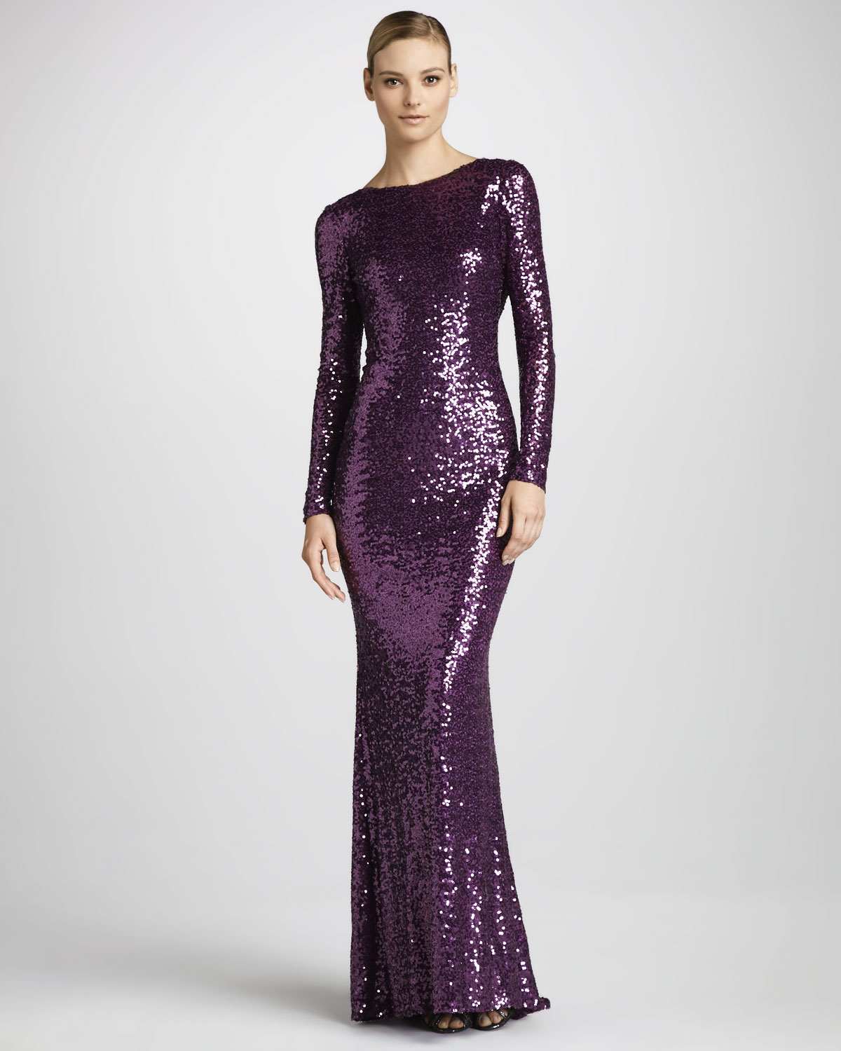 Lyst Badgley Mischka Sequined Cowl Back Gown In Purple