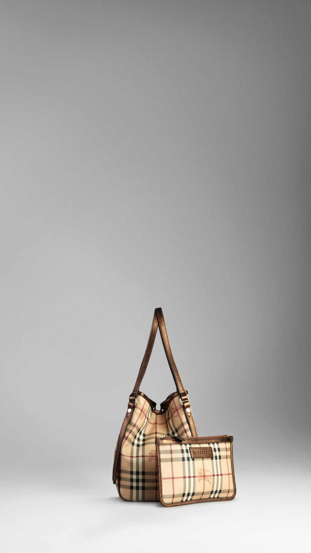 Lyst Burberry Small Haymarket Check Tote Bag In Natural