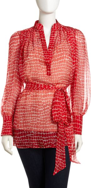 Catherine Malandrino Crocodileprint Tiewaist Blouse in Red (croc print) - Lyst