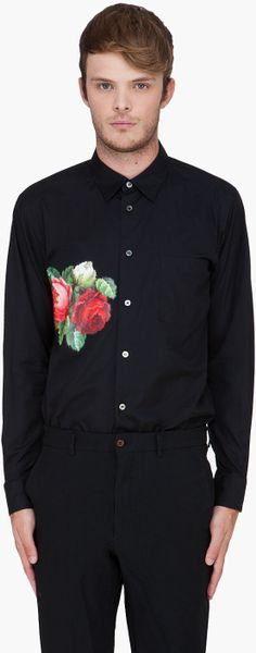 Comme Des Garçons  Flower Pattern Shirt in Black for Men - Lyst