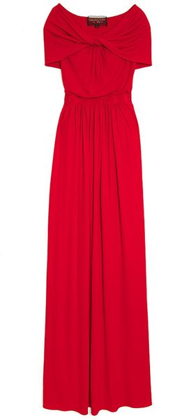 Giambattista Valli Drape Shoulder Jersey Gown in Red - Lyst