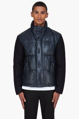 Givenchy Navy Leather Puffer Jacket - Lyst