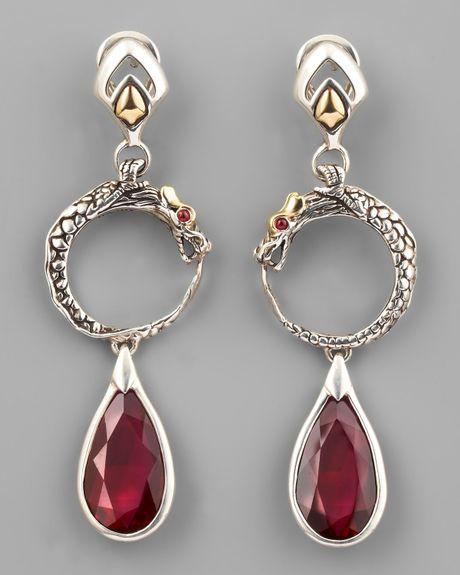 John hardy african ruby naga drop earrings in silver lyst for John hardy jewelry earrings