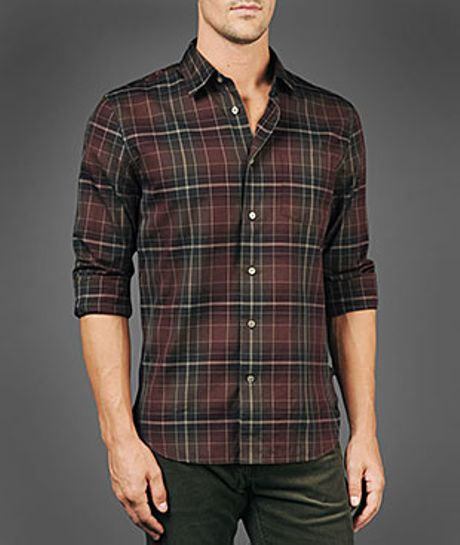 John varvatos slim fit flannel shirt in red for men for Mens slim fit flannel shirt