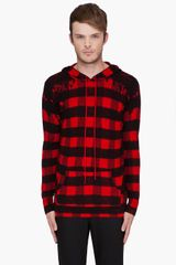 Markus Lupfer Red Destroyed Check Print Hoodie - Lyst