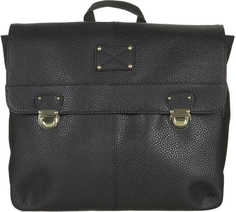 Topshop Pushlock Satchel Backpack in Black