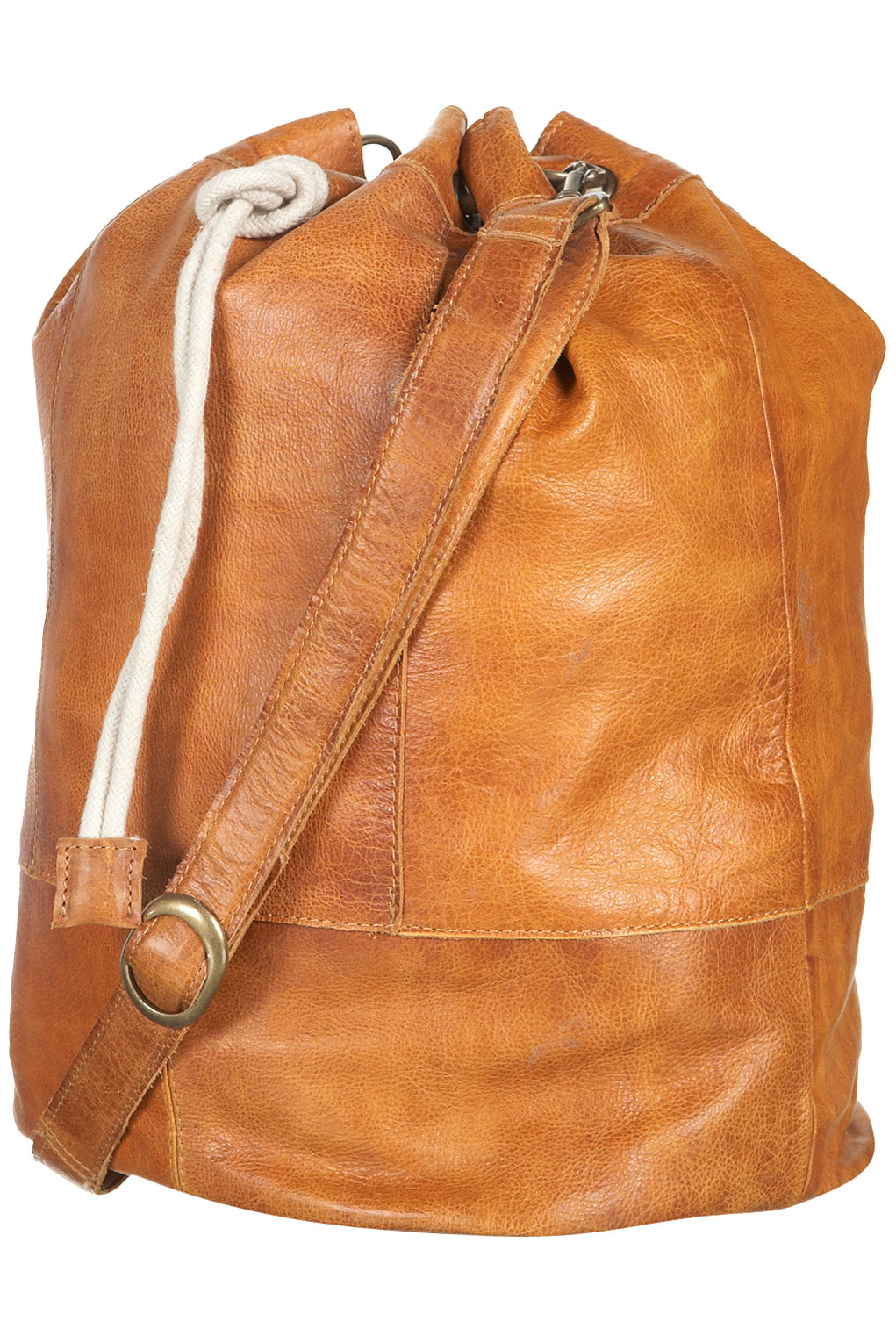 Lyst Topshop Drawstring Leather Duffle Bag In Brown