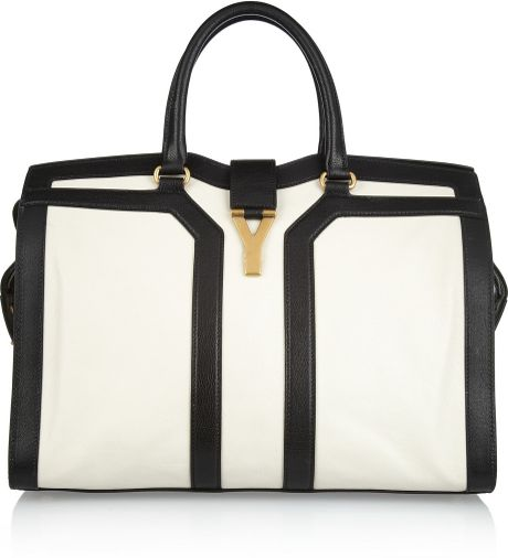 Yves Saint Laurent Large Cabas Chyc Leather Tote in White (black) - Lyst
