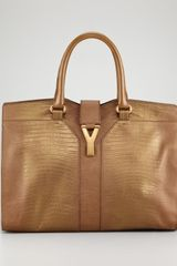 Yves Saint Laurent Metallic Cabas Chyc Embossed Tote Medium - Lyst