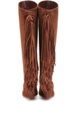 Christian Louboutin Pouliche Suede Boots with Fringed Trim in Brown (cocoa) - Lyst
