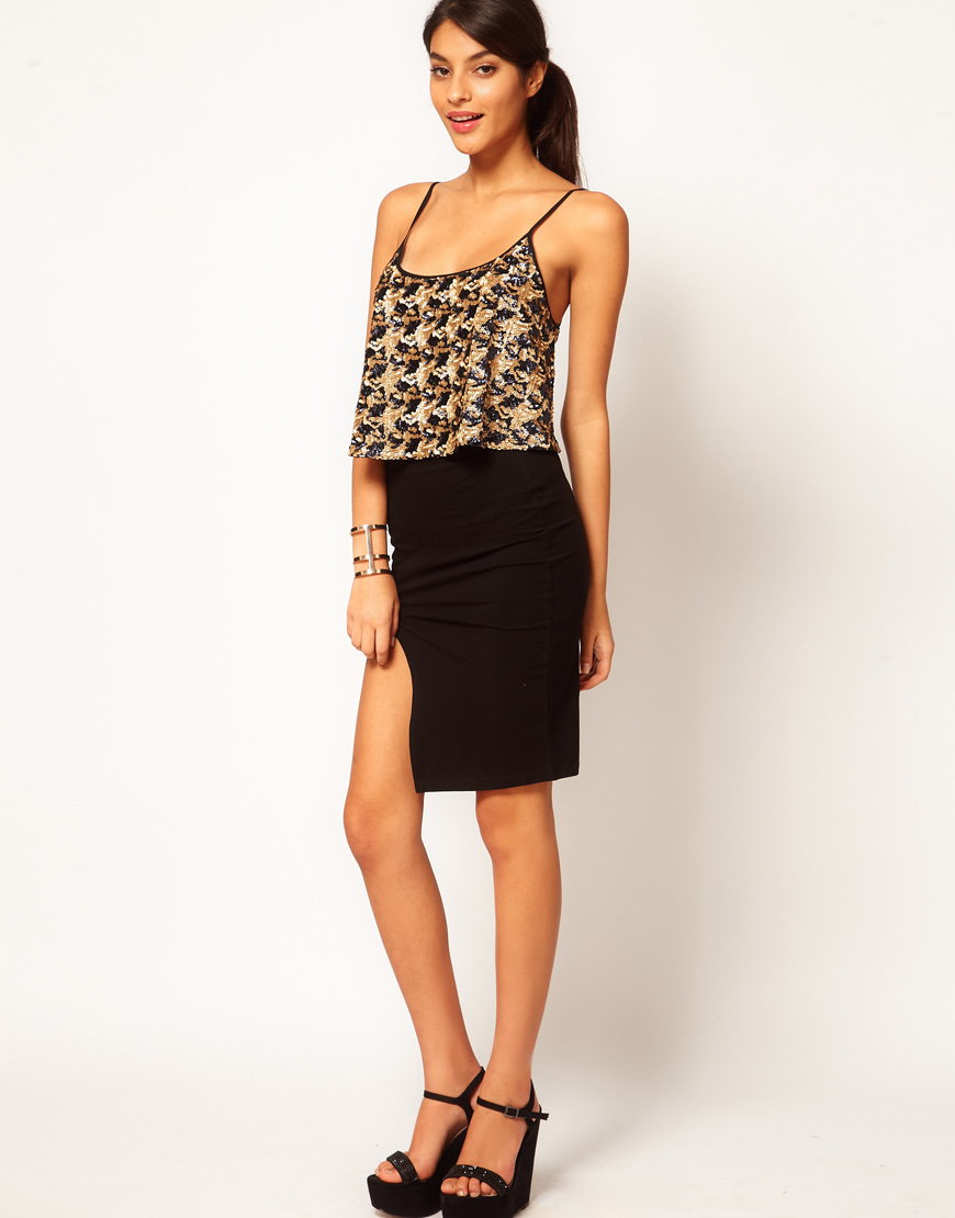 asos collection asos pencil skirt with thigh high split in