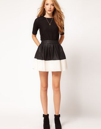ASOS Collection Asos Skater Skirt in Leather Look - Lyst