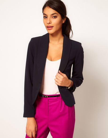 Asos Shrunken Boyfriend Blazer in Blue (navy) - Lyst