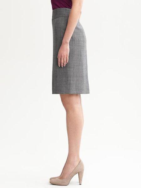 banana republic grey plaid lightweight wool pencil skirt