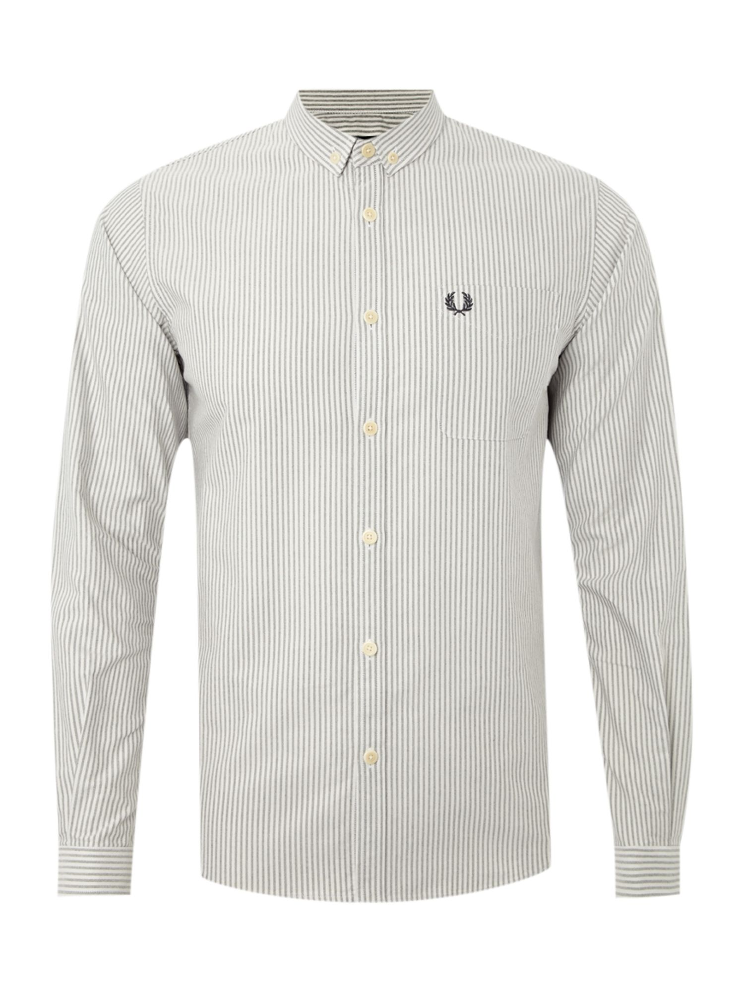 Fred Perry Long Sleeved Oxford Striped Shirt In Gray For