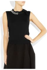 Lanvin Embellished Wool Top in Black - Lyst