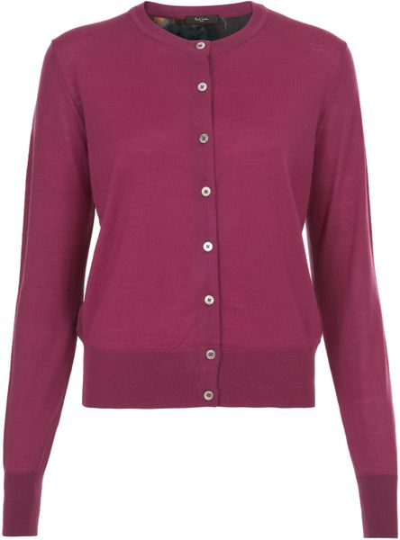 Paul Smith Black Label Purple Peony Back Cardigan in Purple - Lyst