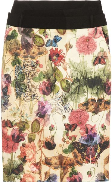 Preen By Thorton Bregazzi Cottage Printed Sateen and Wool Skirt in Multicolor (multicolored)