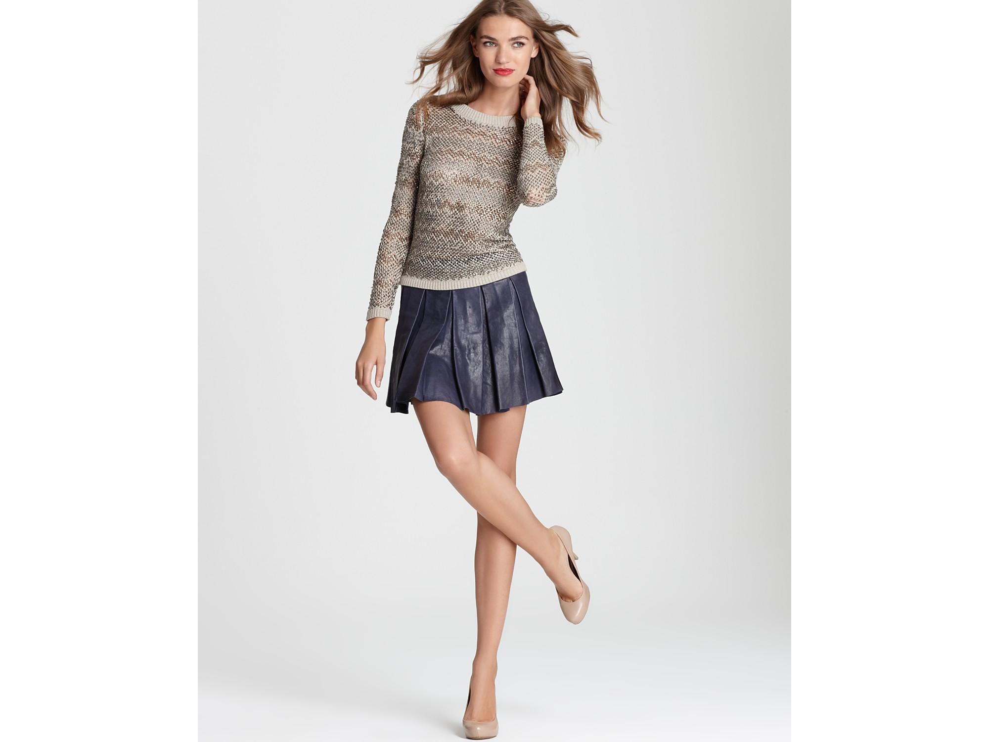 Alice   olivia Leather Skirt Tam Box Pleat Mini in Blue | Lyst