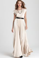 Alice + Olivia Maxi Dress Triss Pleated with Leather Belt - Lyst