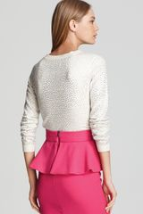 Alice + Olivia Sweater Cena Rhinestone Crewneck in White - Lyst