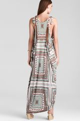 Ash Mara Hoffman Knotted Shoulder Dashiki Dress in Beige (stone) - Lyst