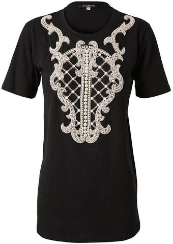 Balmain Cotton T-shirt With Embellished Shield Motif - Lyst