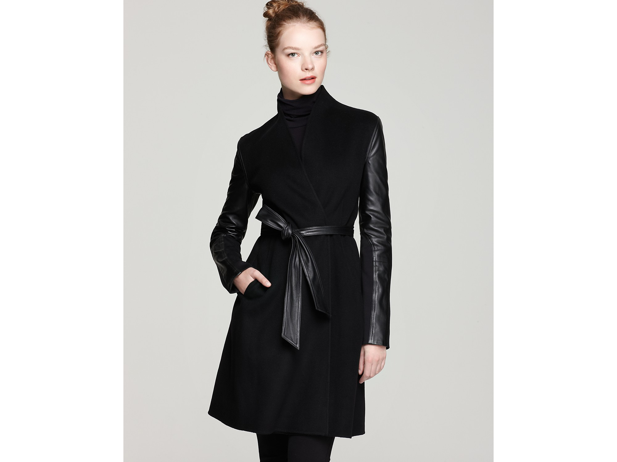 Dawn levy Minka Double Faced Wool Jacket with Leather Sleeves in ...