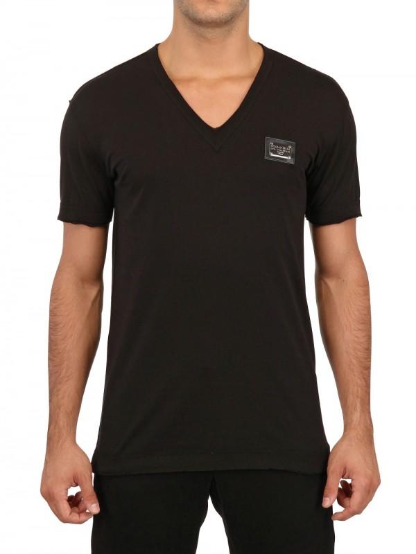 con Dolce Gabbana en cuello Plaque Black Logo v camiseta 4EU8w80q