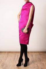 Lanvin Structured Silk Dress in Pink - Lyst