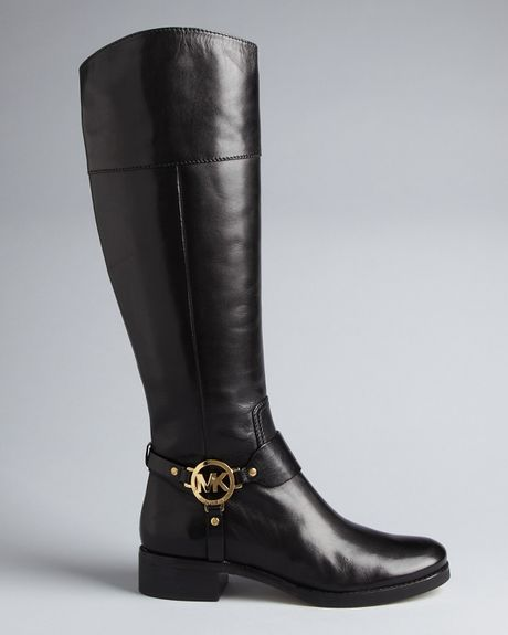 Michael Kors Michael Harness Riding Boots Fulton In Brown
