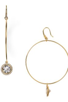 Michael Kors Hoop with Crystal Drop Earrings - Lyst