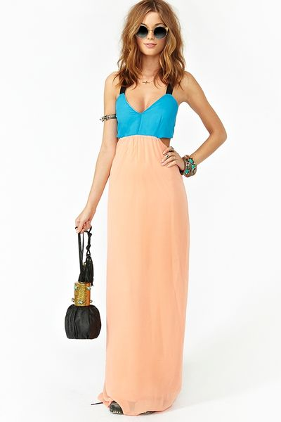Nasty Gal Block Party Maxi Dress in Pink (black) - Lyst