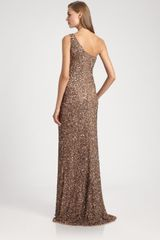 Theia Beaded Asymmetrical Gown in Brown (mocha) - Lyst