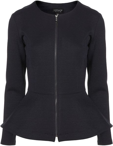 Topshop Ribbed Peplum Jacket in Blue (navy blue) - Lyst