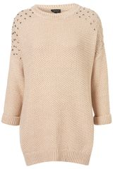 Topshop Knitted Stud Shoulder Jumper - Lyst