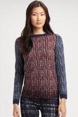 Tory Burch Hutton Crewneck Sweater in Blue (cinnamon) - Lyst
